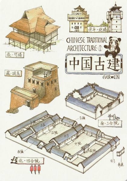 Ever & Ein Postcard - Traditional Series - Chinese Architecture (Buildings)