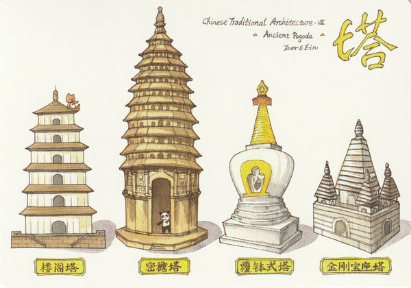Ever & Ein Postcard - Traditional Series - Chinese Architecture (Pagoda)