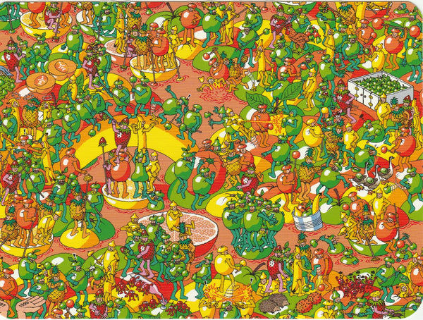 Where's Wally Postcard (BWP13) - The Mighty Fruit Fight