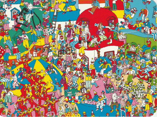 Where's Wally Postcard (BWP18) - Clown Town