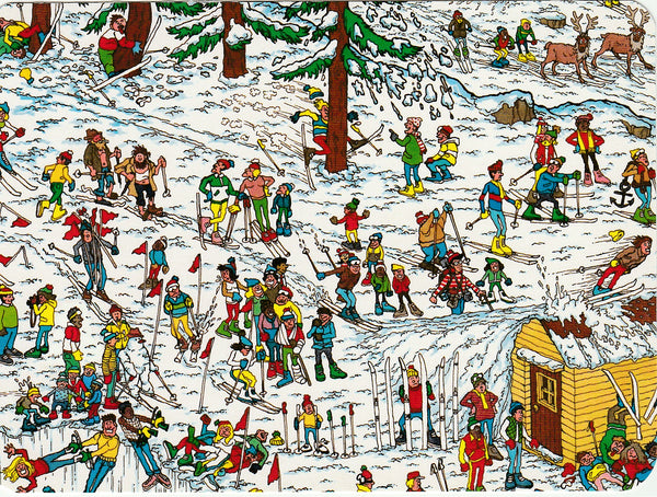 Where's Wally Postcard (BWP02) - Ski Slopes