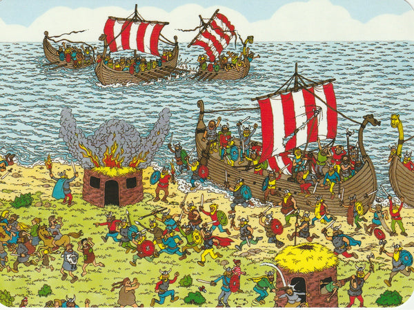 Where's Wally Postcard (BWP03) - On Tour With The Vikings