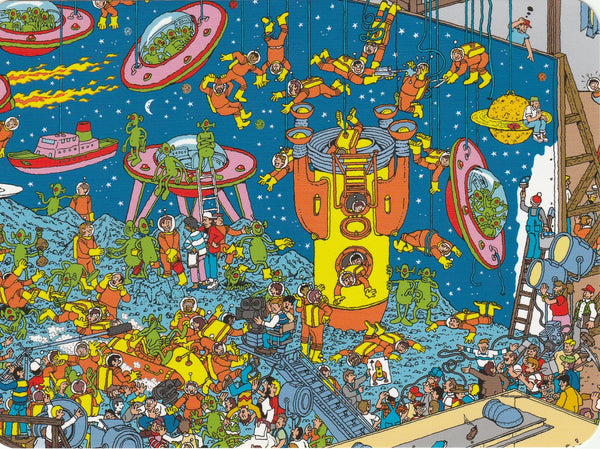 Where's Wally Postcard (OWP16) - Dinosaurs, Spacemen and Ghouls