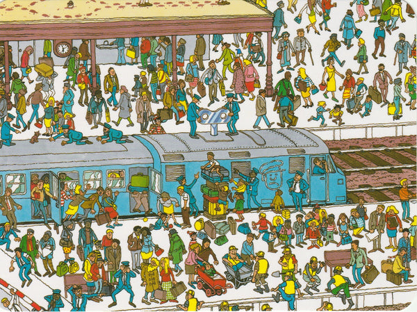 Where's Wally Postcard (OWP02) - The Railway Station