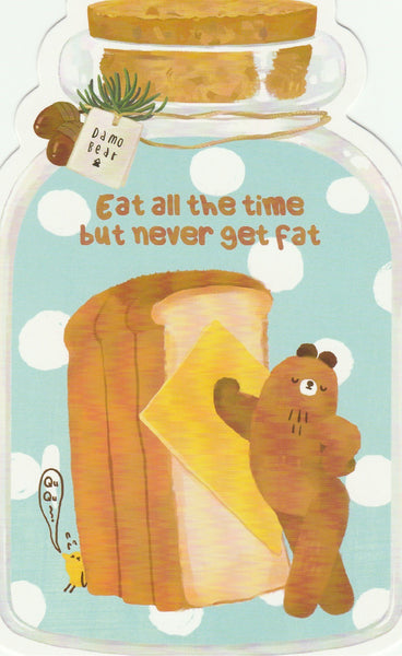 Bear in a Bottle Postcard Collection - Eat all the time but never get fat