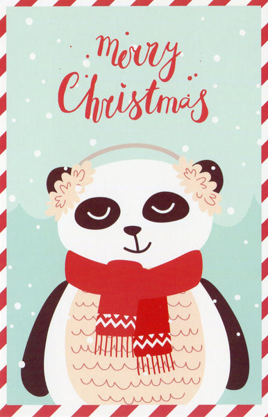 Christmas Animals Postcard - Bear Panda