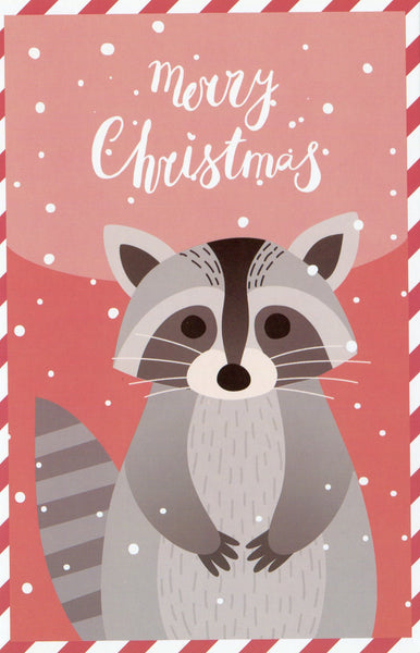 Christmas Animals Postcard - Raccoon