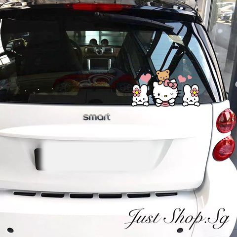 Hello Kitty And Bunny Car Sticker - Just Shop.Sg
