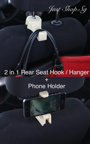 2in1 Rear Seat Hanger/ Hook n Phone Holder - Just Shop.Sg
