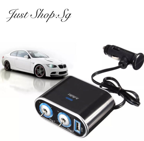 2 Ways Car Splitter With Switch - Just Shop.Sg