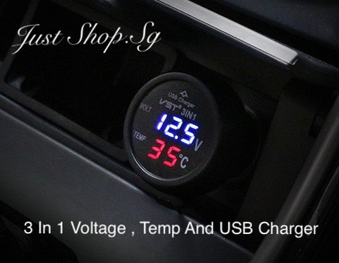 3 In 1 Voltage Temp And Car USB Changer - Just Shop.Sg