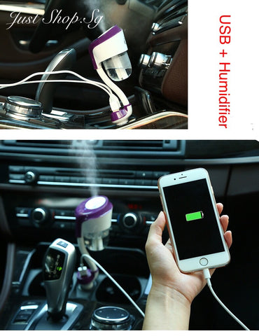 Car Air Purifier /Humidifier Cum Double USB Charger - Just Shop.Sg