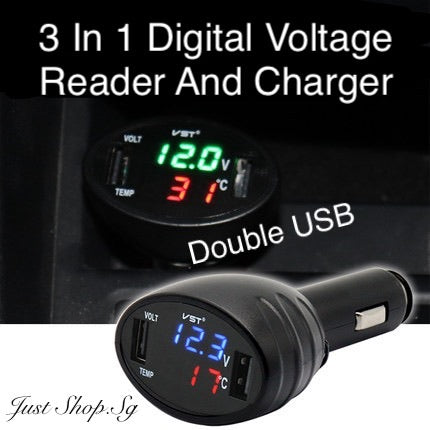 3 In 1 Digital Voltage Reader And charger (Double USB)