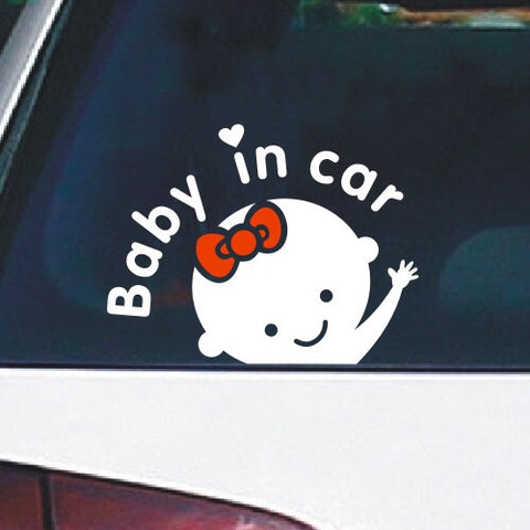Baby Girl In Car Decal / Sticker - Just Shop.Sg