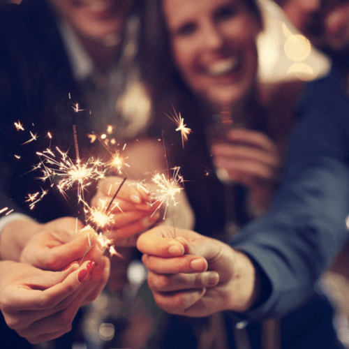 Celebrate With Friends and Sparklers