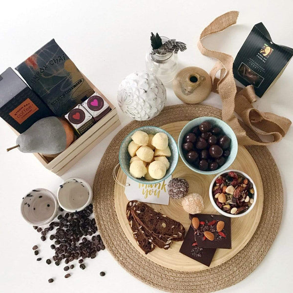 Coffee, tea, chocolate plate