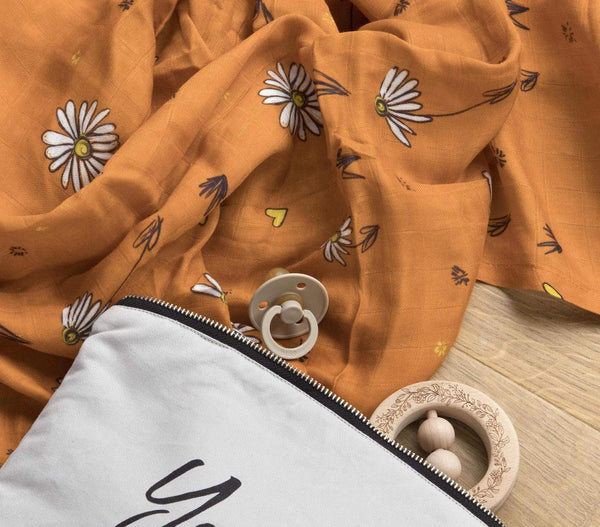 Byron Bay Gifts ONLINE GIFT SHOP Organic Bamboo Muslin – Daisy Field on Honey/Terracotta – Swaddle Wrap Blanket