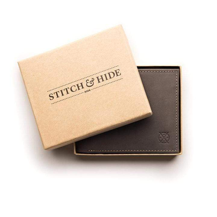 Stitch & Hide ONLINE GIFT SHOP Cool Wallets For Men 'Henry' Steel Black