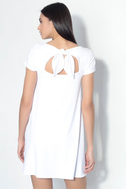 short sleeve tied back shirt dress