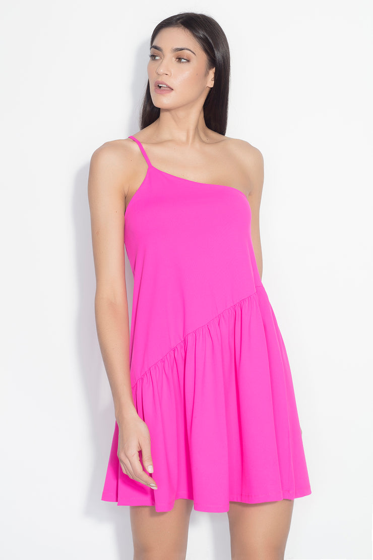 one shoulder gather flare dress