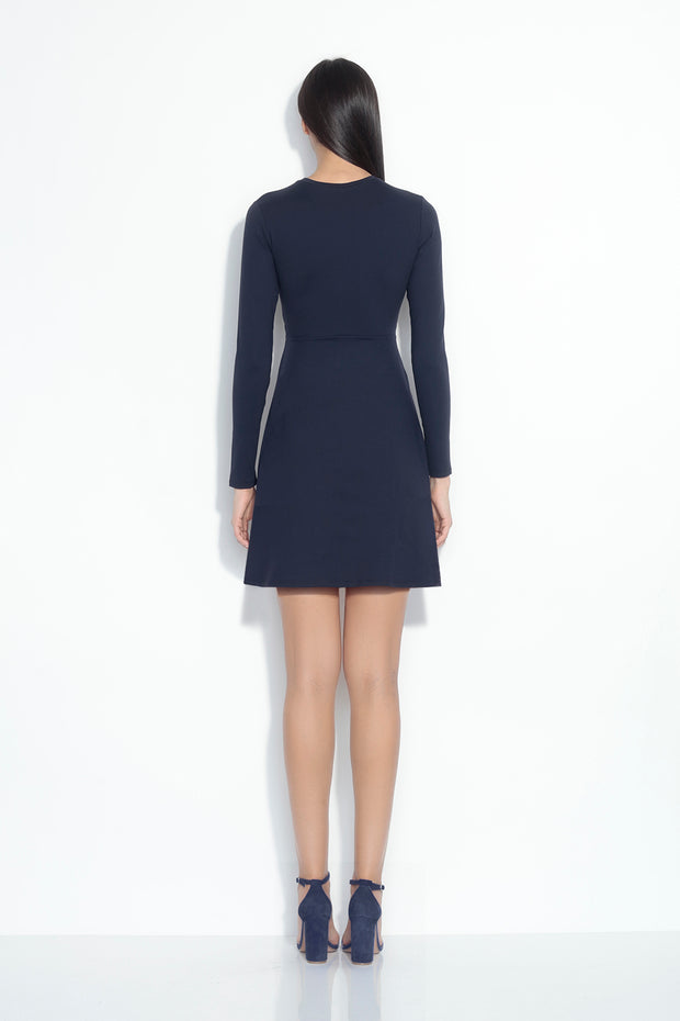 long sleeve knot front dress