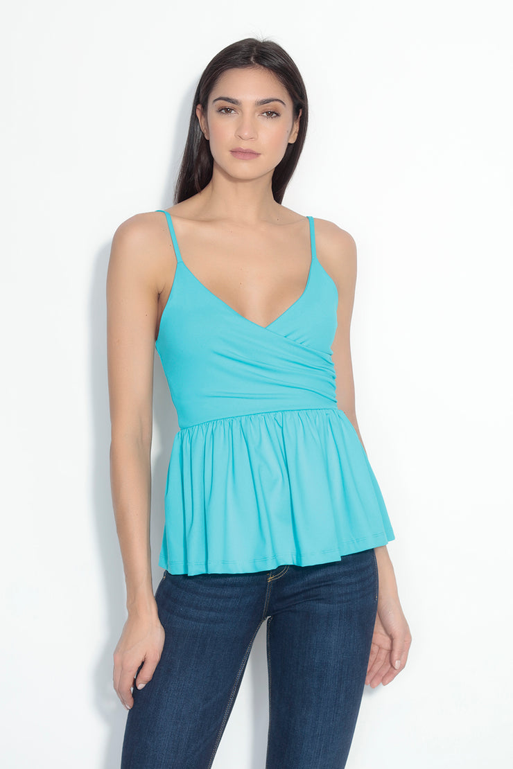 thin strap wrap peplum top