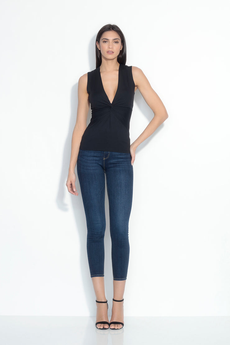 sleeveless twist front top