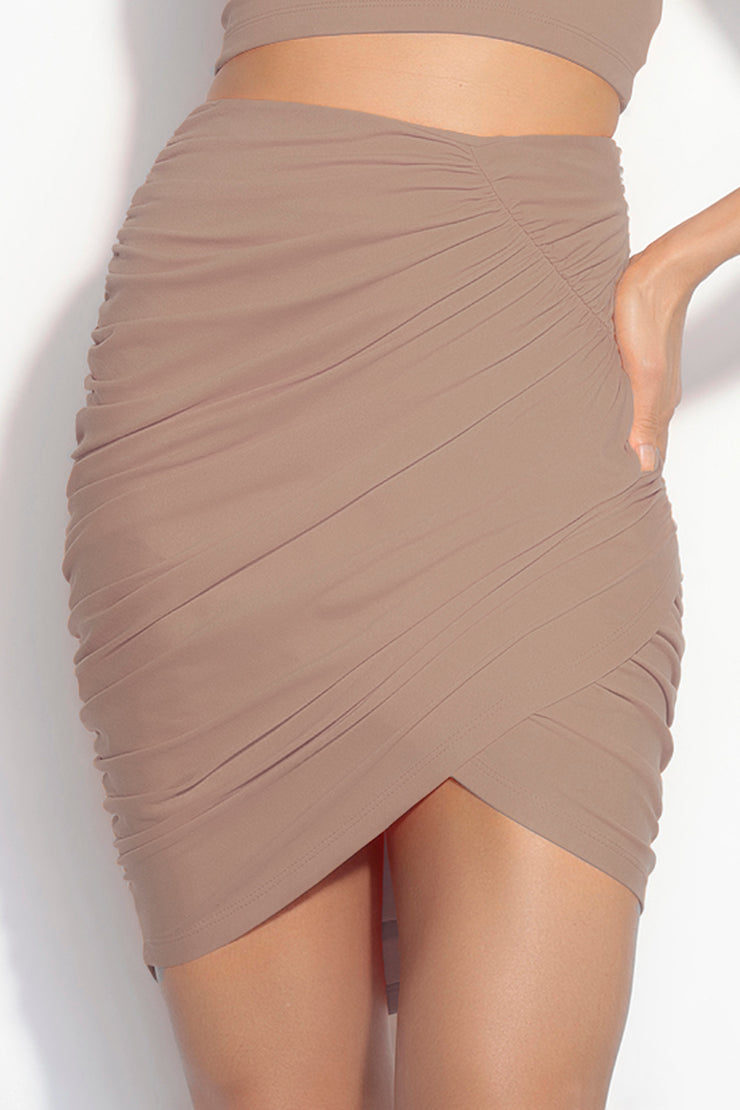angled ruched skirt