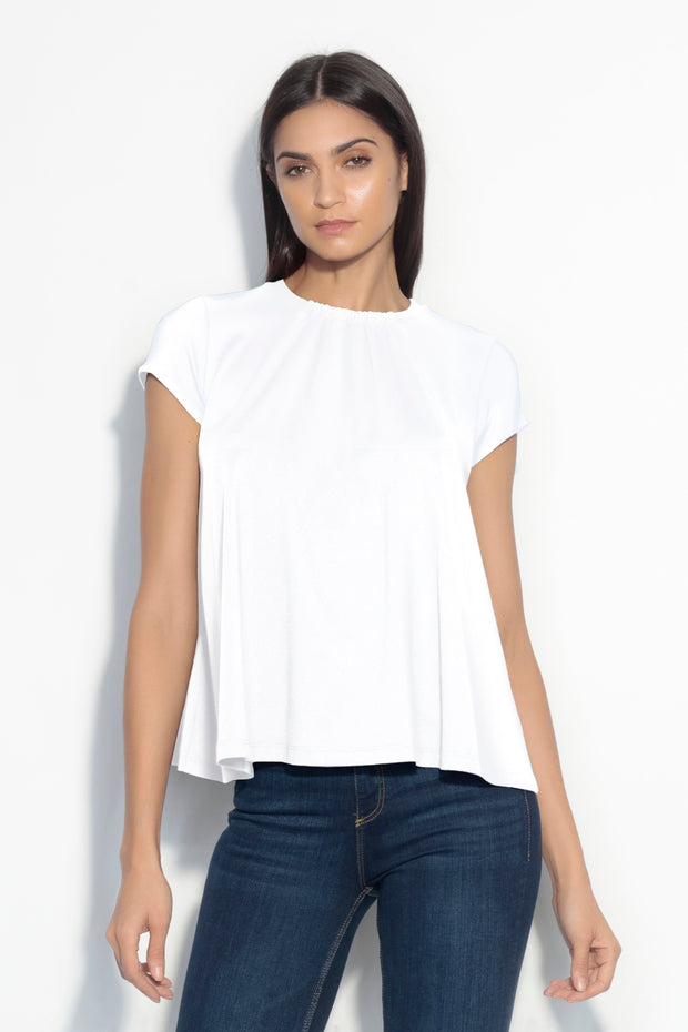 short sleeve gathered band top
