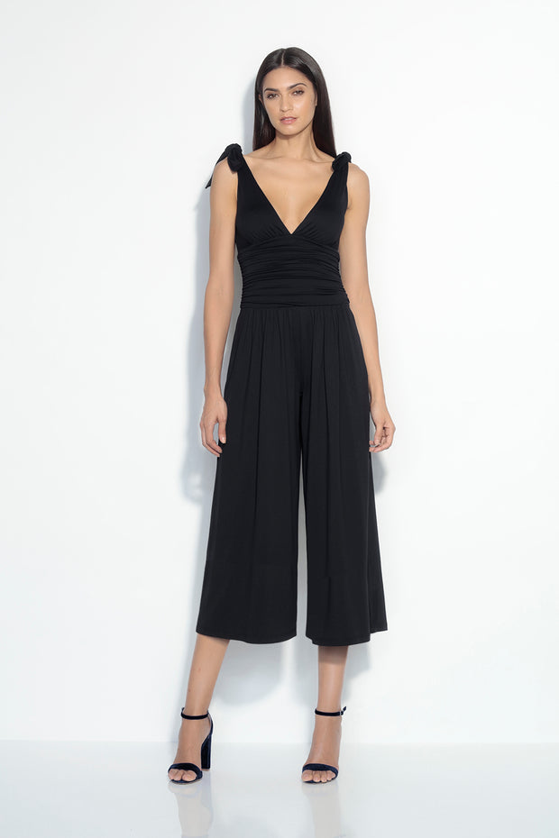 tied shoulder ruched jumpsuit