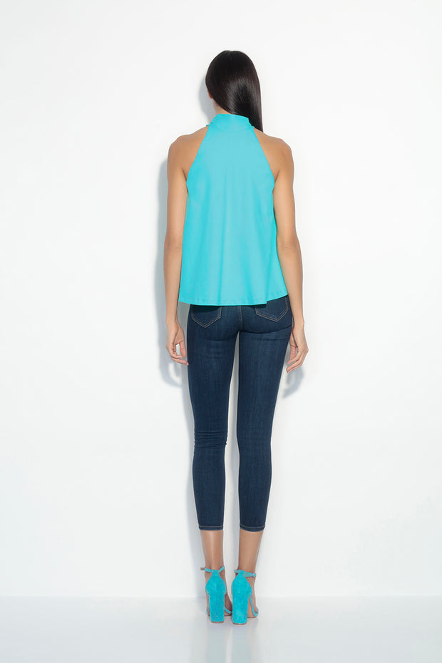 gathered neck sleeveless top