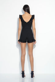 double v ruffled romper