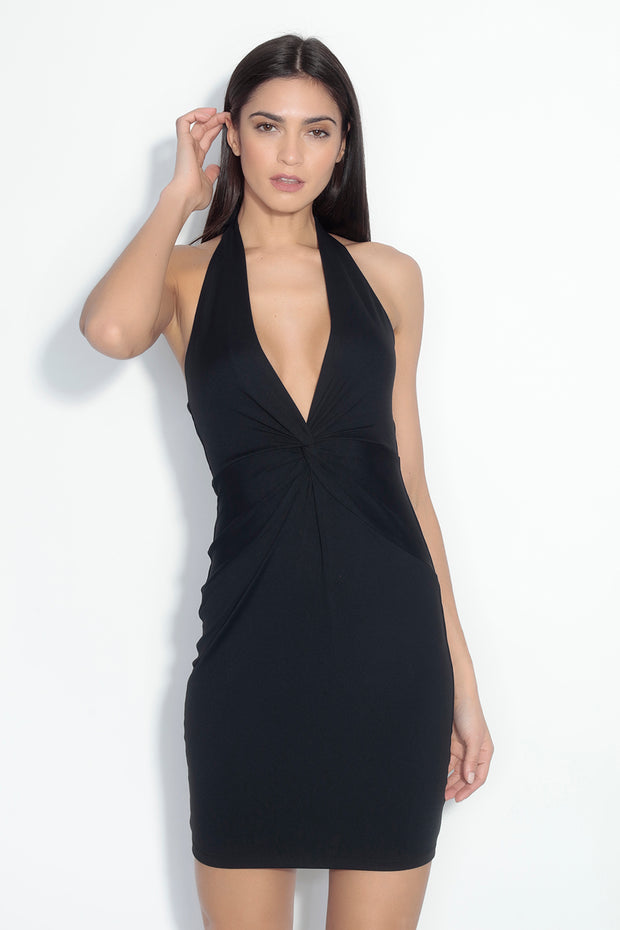 twist front halter dress
