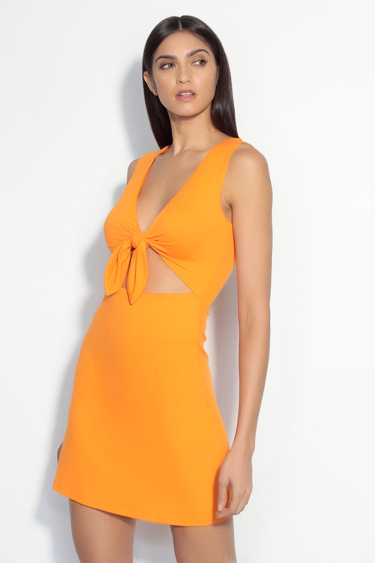 bow front sleeveless cutout dress