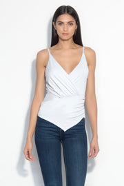 thin strap gathered wrap top
