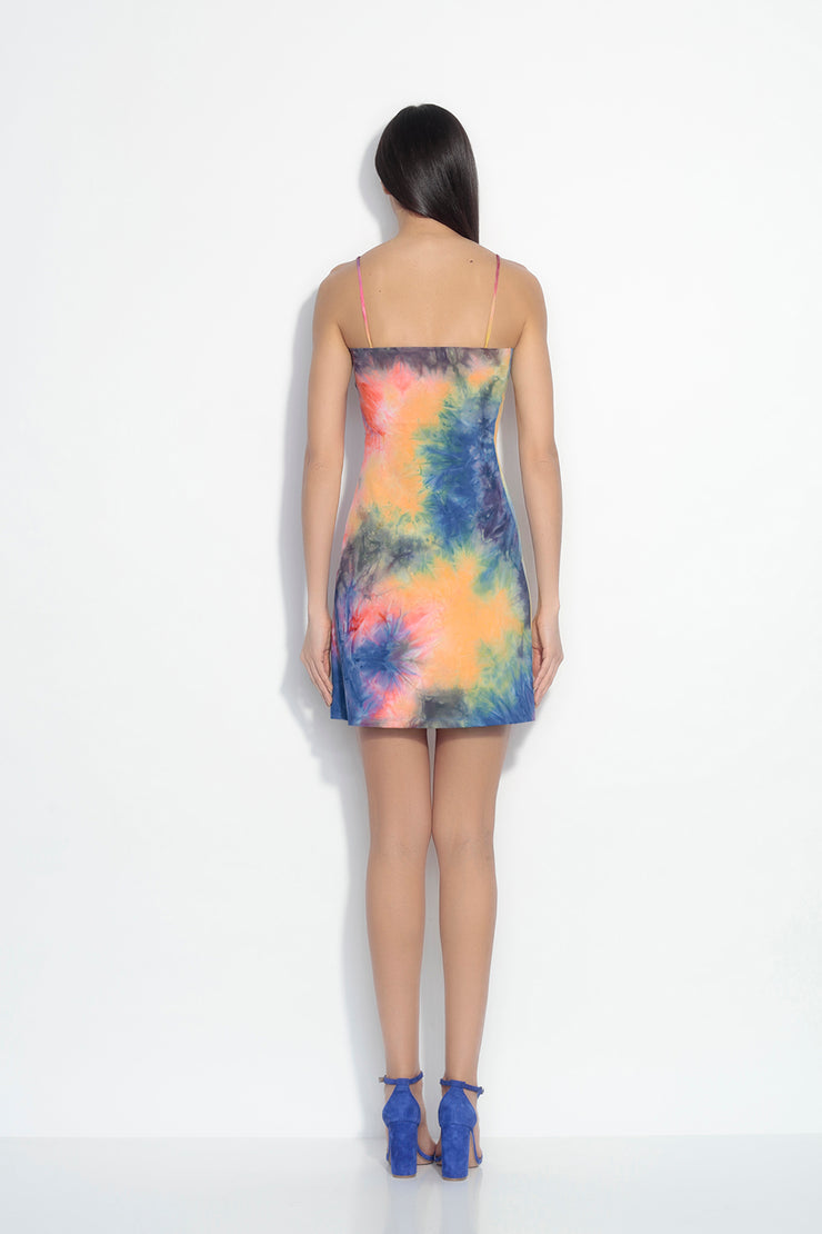 thin strap a-line tie dye dress