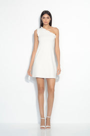 one shoulder ruffle edge dress