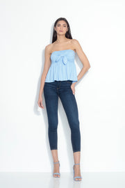 strapless bow flare top