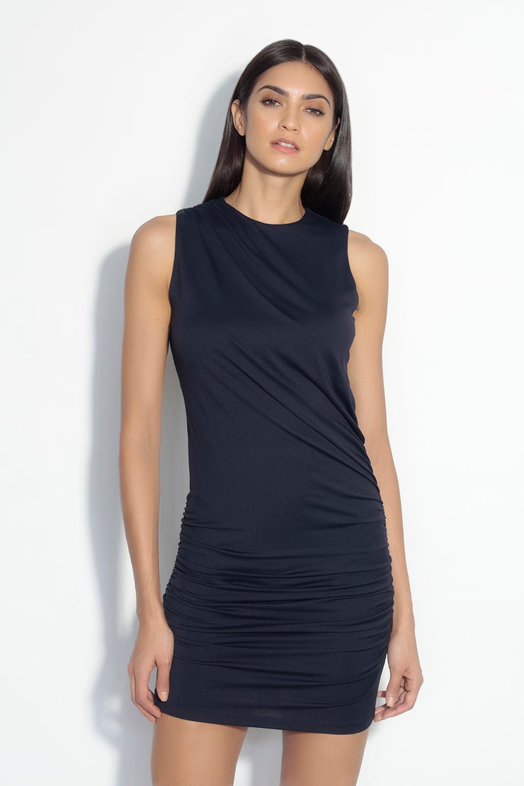 sleeveless crew neck drape dress