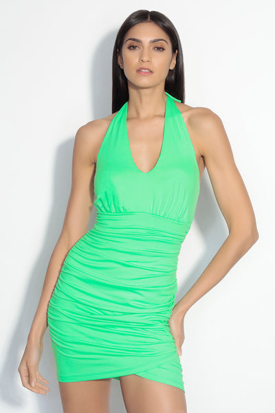 ruched wrap halter dress