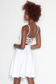 thin strap lace up backdress