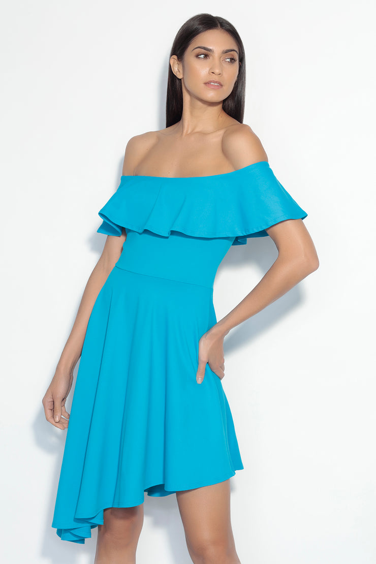 off shoulder angled ruffle hem dress