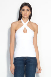 keyhole crossover halter top
