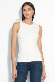 sleeveless curve back bow top