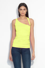 angled neck ruched side top