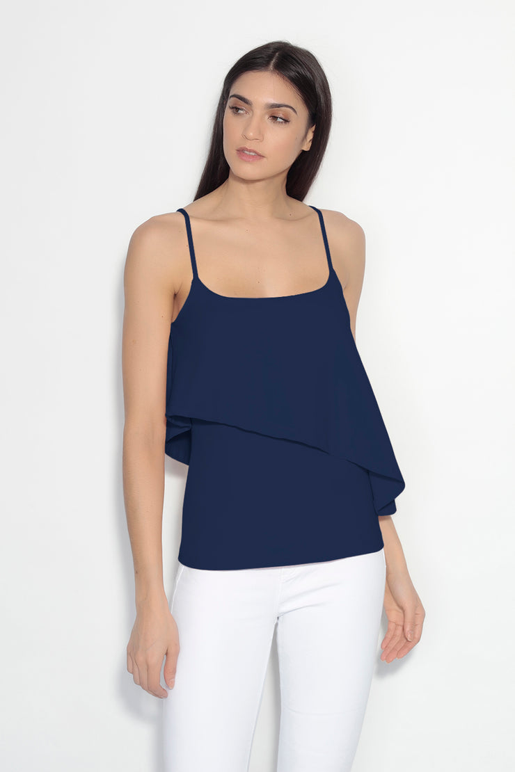 thin strap cascade overlay top