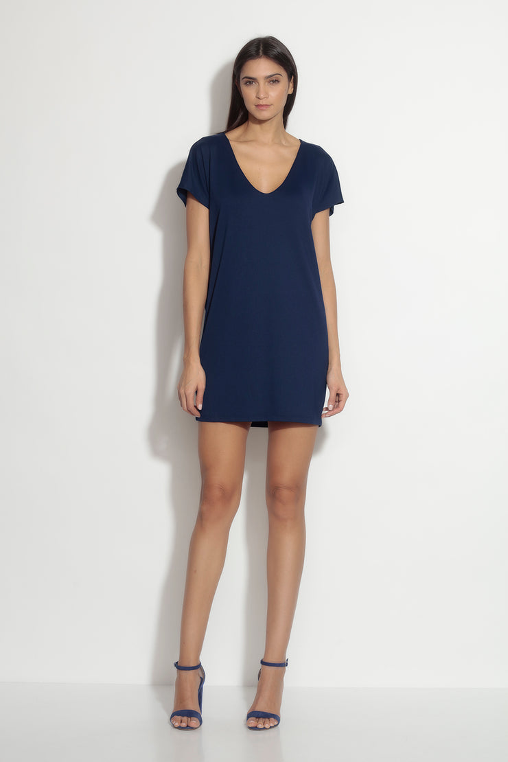 tie back short sleeve dolman dress