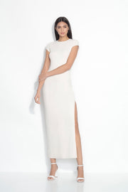 short sleeve slit maxi dress