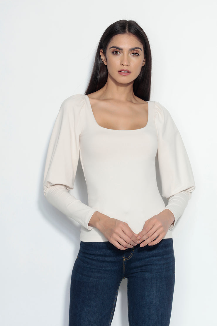 gathered mutton sleeve top