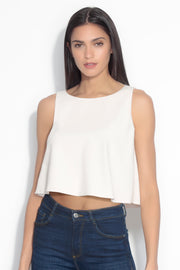 sleeveless boat neck top